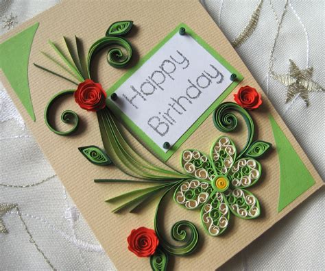 Handmade Greetings Card - happy birthday card handmade quilling card quilled