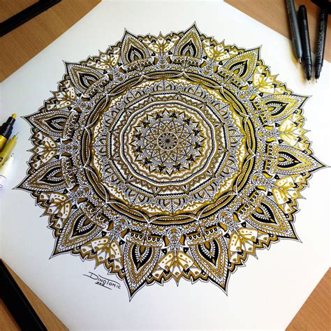 mandala 2 watercolor and pen tattoo style speed drawing golden mandala pen drawing by atomiccircus on deviantart