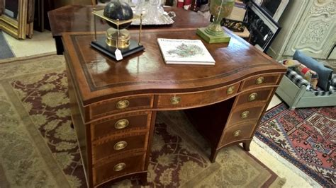 sligh furniture antique desk inlaid carved mahogany leather top nottingham sligh