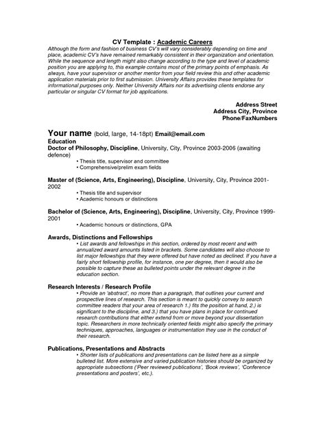 Template Academic Cv Academic Templates Curriculum Vitae Tips And Sles Recentresumes Com