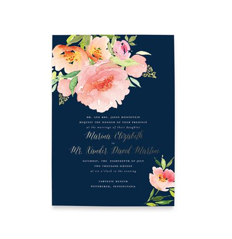 Floral Wedding Invitations by Floral Watercolor Wedding Invitation Blush Paper Co