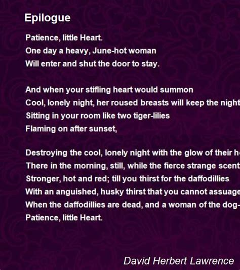 epilogue poem by david herbert lawrence poem hunter