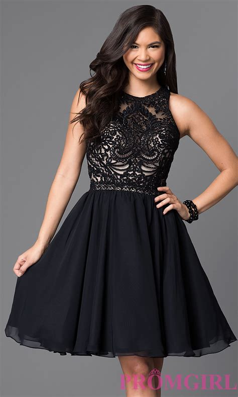 Homecoming Dresses by Knee Length Lace Bodice Homecoming Dress Promgirl