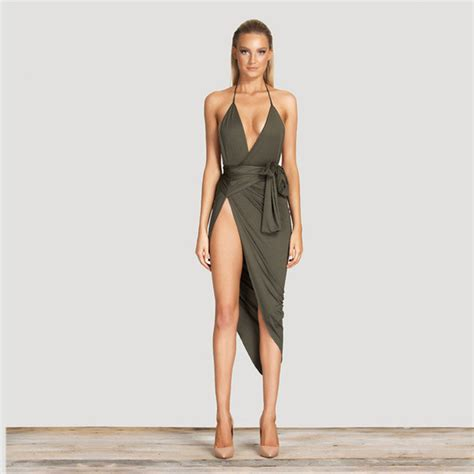 754 Dress Open Sude Halterneck spaghetti halter with v neck with side exposed thigh slit bodycon mid calf