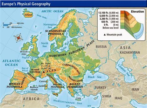 europe elevation map physical maps of europe free printable maps