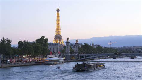 boat trip near eiffel tower paris france july 25 2013 iconic eiffel tower paris