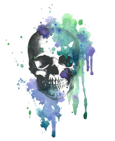 vintage watercolor skull temporary tattoo the grass