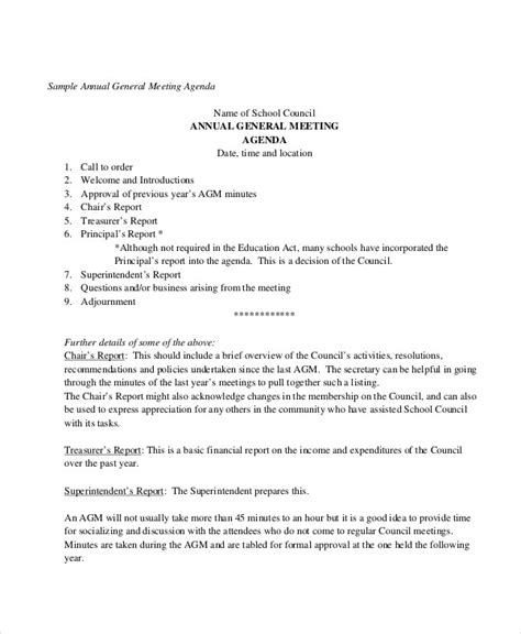 Agm Meeting Template by Annual Agenda Template 10 Free Word Pdf Format