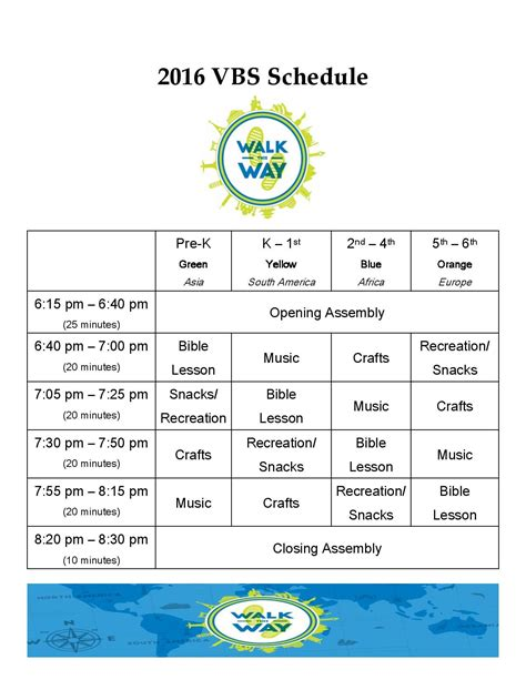 2016 Vbs Schedule Page 001 Jpg 1275 215 1650 Vacation Bible School Pinterest Vbs Schedule Template