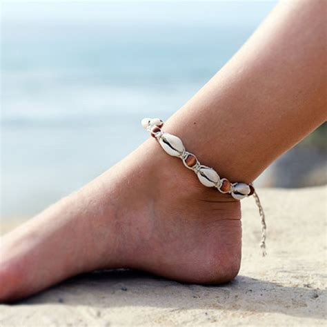 My Anklet vintage diy rope wood bead ankle bracelet shell bohemian anklet foot jewelry