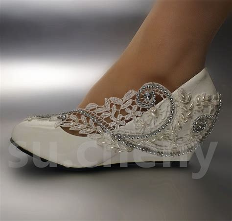 White Wedge Bridal Shoes by 2 3 White Ivory Wedges Pearls Lace Wedding Shoes