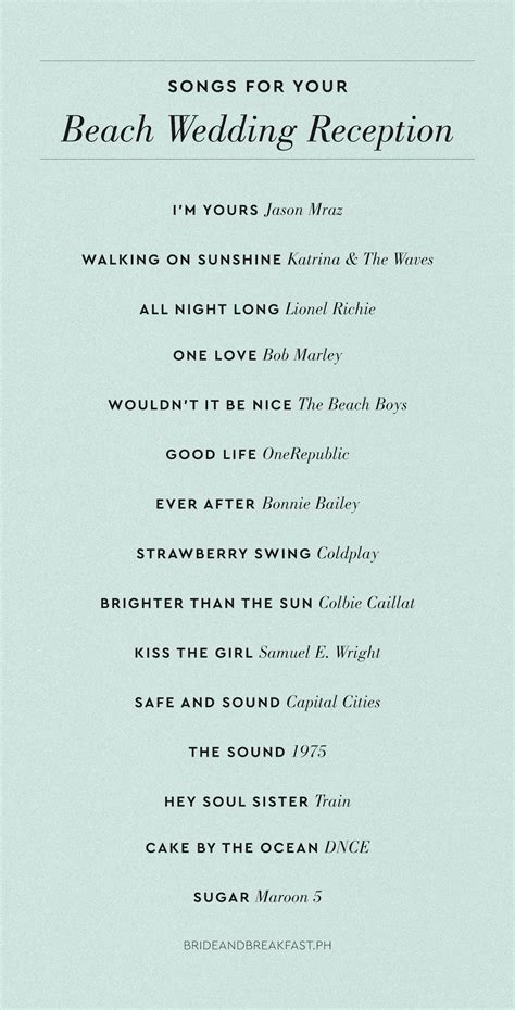 Beach Wedding Reception Playlist   Philippines Wedding Blog