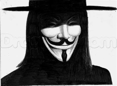 Drawing V For Vendetta by How To Draw V From V For Vendetta Step By Step