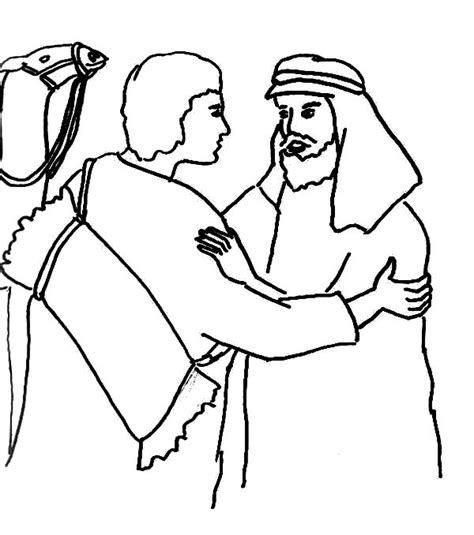 jacob and esau reconcile coloring page jacob and esau reunion coloring page reunite netart