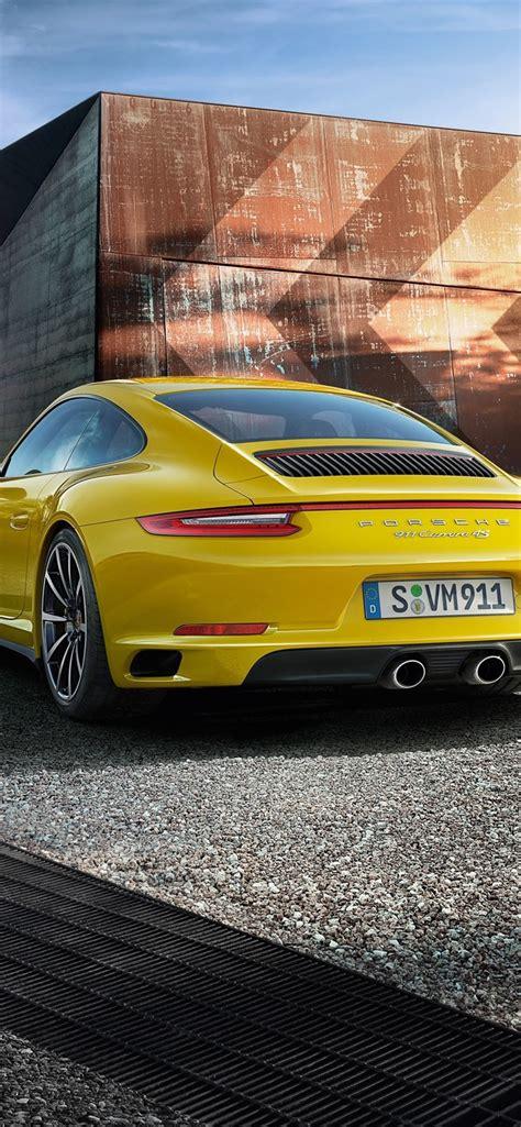 supercar iphone 5 wallpaper porsche 911 4s yellow supercar rear view 828x1792