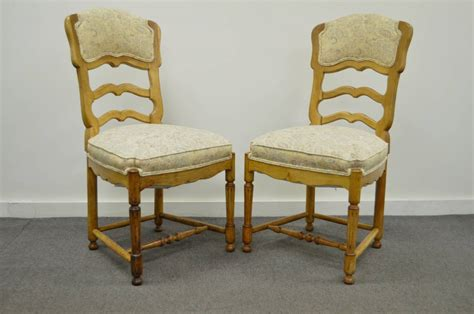 Country Style Dining Chairs Six Country Style Carved And Upholstered Ladder Back Dining Chairs At 1stdibs