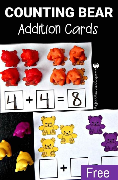 kindergarten activities bears counting bear addition cards addition activities