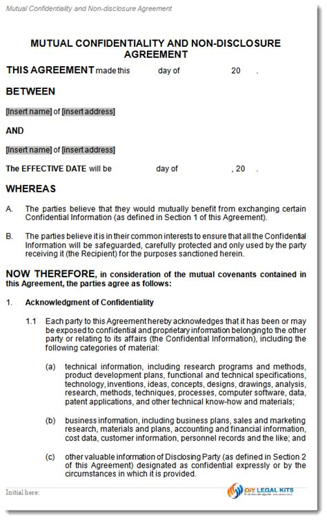 non disclosure agreement template australia confidentiality non disclosure agreement