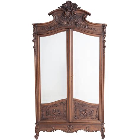 mirror front armoire french 19th century louis xv carved walnut mirror front