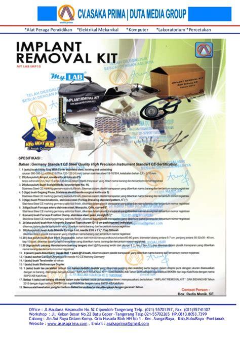 Implant Kit Standar Renz 15 Item alat peraga dak pendidikan dak sd dak smp dak bkkbn duta media dak bidang kb 2015