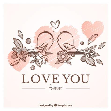 amor love vintage 0345805232 liefde kaart met de hand getekende vogels vector gratis download
