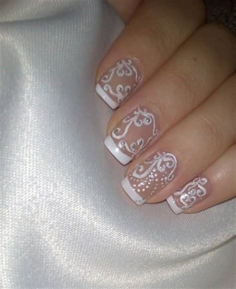 wedding toe nail art design white on white french pedicure white tip with gold glitter flowers design wedding nail art