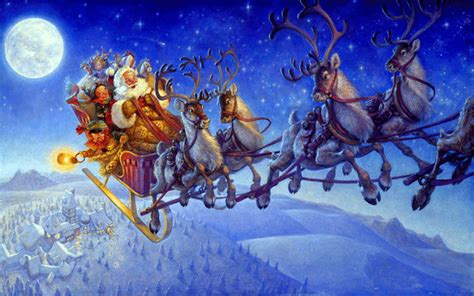 santa claus on sleigh wallpapers and reindeer christmas