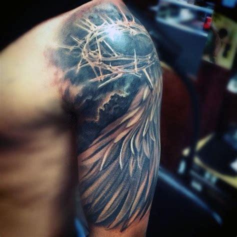 tattoo angel wings sleeve angel wing with crown of thorns mens jesus half sleeve