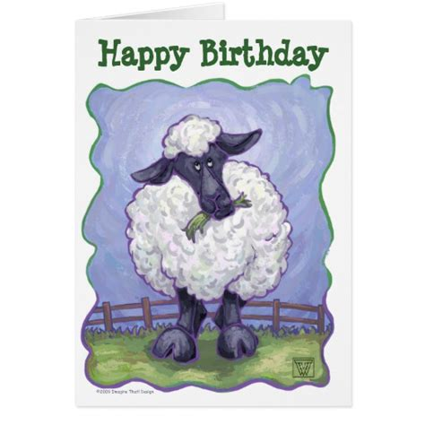 Sheep Birthday Card Animal Parade Sheep Art Happy Birthday Card Zazzle