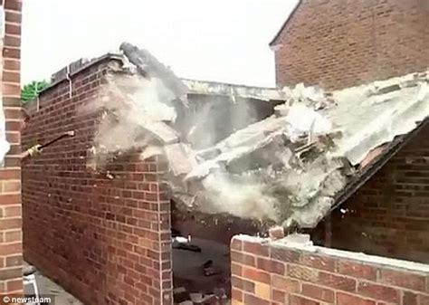 Garage Roof Construction Dramatic Moment Garage Falls Onto Builder After He Knocks