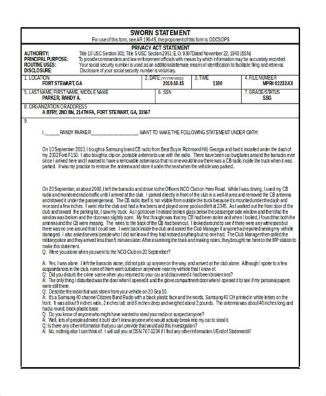 Sle Army Counseling Form 7 Free Documents In Pdf Doc Counseling Statement Template