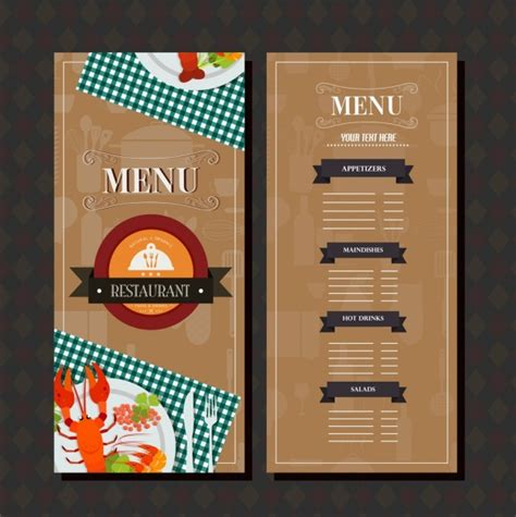 restaurant menu vector templates free download