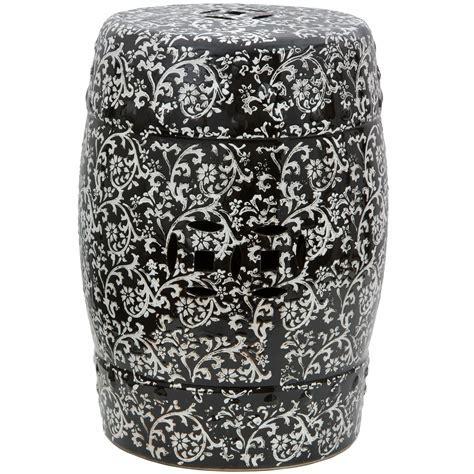 """Buy 18"""" Black & White Floral Porcelain Garden Stool Online"""