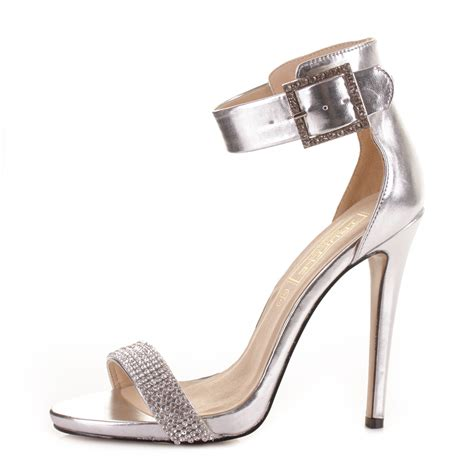 silver high heel sandals womens silver high heel diamante buckle ankle
