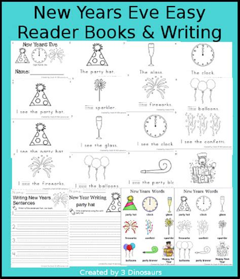 other terms for new year 3 dinosaurs new years easy reader i see the