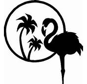 Pink Flamingo With Two Palm Trees Vinyl Cut Decal
