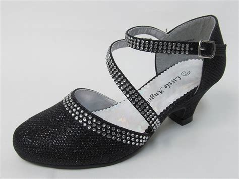 black low heel glitter rhinestone shoe