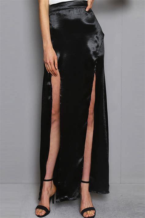 black slit front sexy maxi skirt  skirtsmaxi skirt