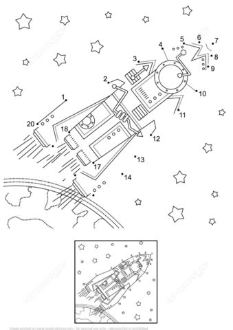 Space Exploration dot to dot | Free Printable Coloring Pages