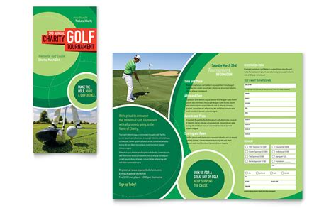 Golf Tournament Tri Fold Brochure Template Word Publisher Golf Design Template