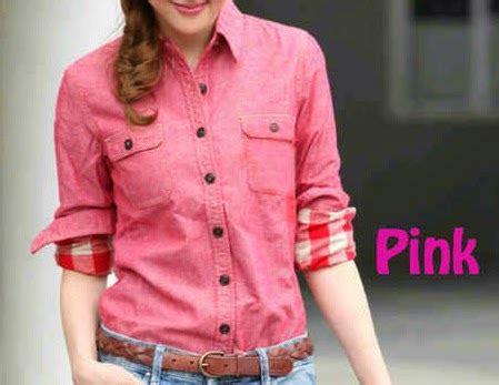Kemeja Denim Serut kemeja sonic pink kombinasi zk m 1142 baju wanita