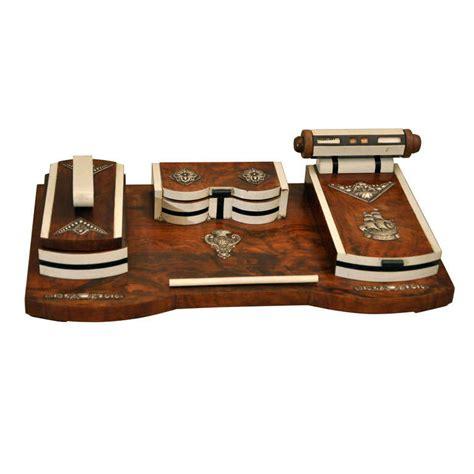 deco desk set deco burled wood desk set at 1stdibs