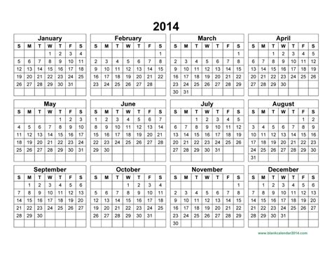 printable calendar 2014 template 10 best images of 2014 annual calendar template 2014