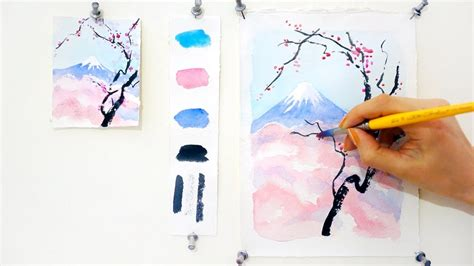 tutorial watercolor step by step watercolor tutorial cherry blossom and mount