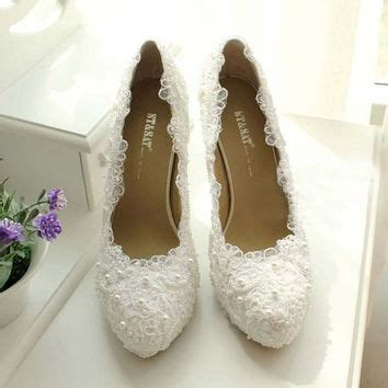 white lace high heels lace wedding shoes from jojoangelly