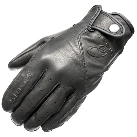 motorcycle gloves black static leather classic vintage fashion motorcycle
