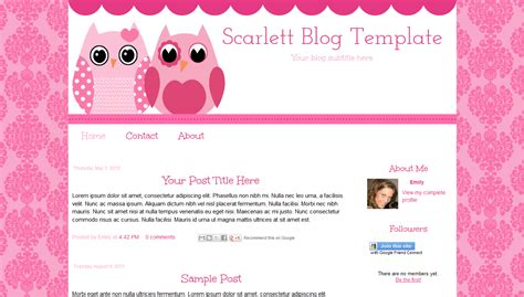 Templates For Blogs by Pink Owl Template 10 00