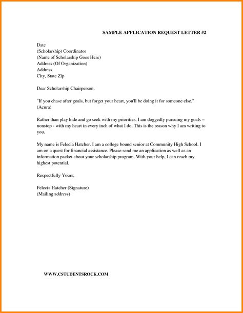 Scholarship Request Letter Exle 4 Letter For Scholarship Request Ledger Paper