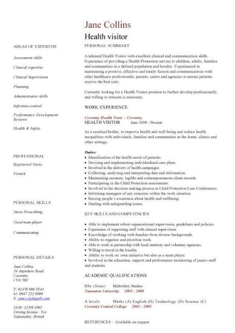template cv healthcare care assistant cv template job description cv exle