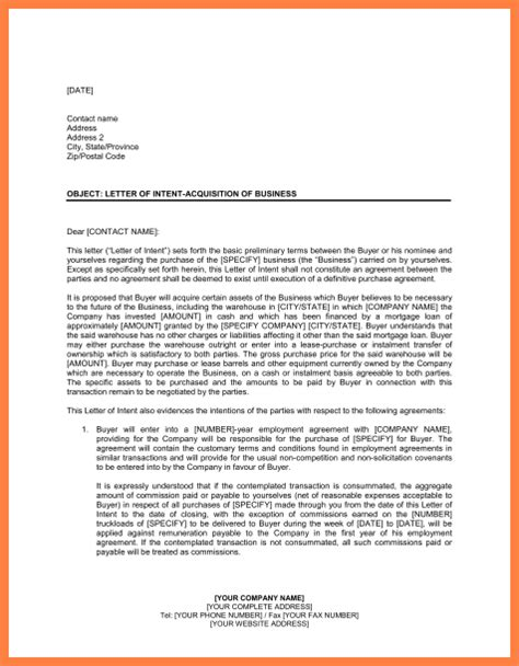 letter of intent to purchase 6 letter of intent to purchase business template 1406